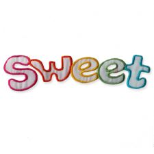 'SWEET' MOTIF IRON ON EMBROIDERED PATCH APPLIQUE